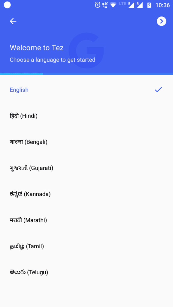 Select Language for Tez