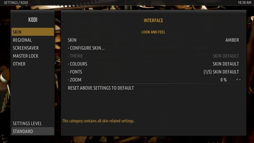 Kodi - Amber Settings