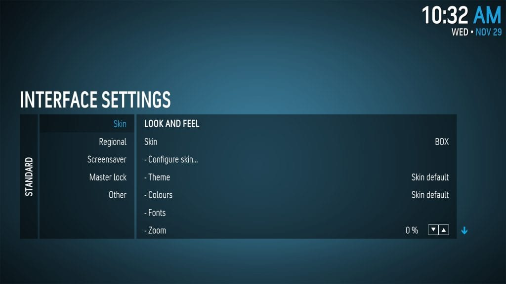Kodi - Box Settings