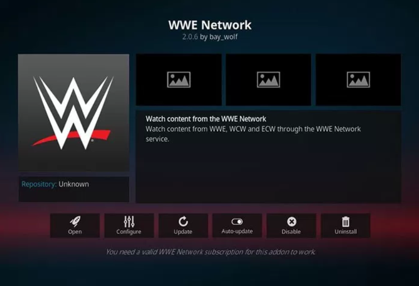 WWE Network - Kodi add-ons
