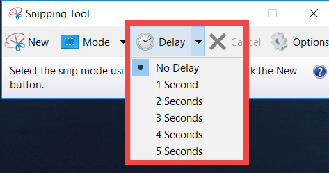 Delay in Snipping tool - screenshot