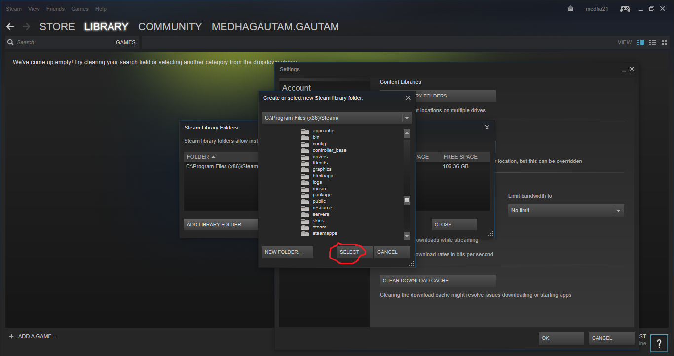 Create or select new steam library folder