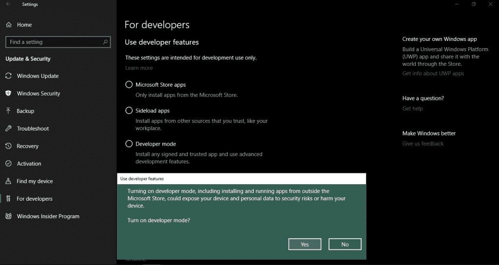 Enable Windows Developer Mode