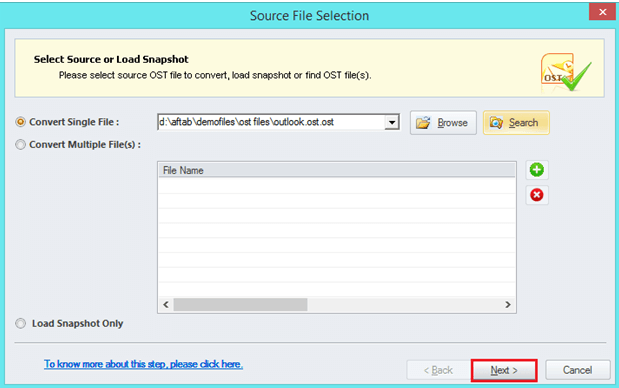 select the files you want to convert from ost to pst