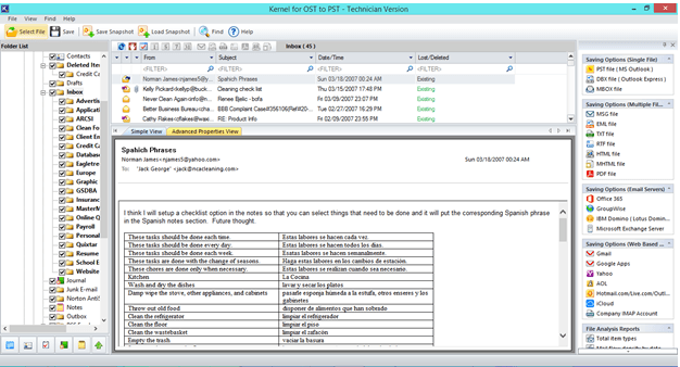 showing the files to convert from ost to pst