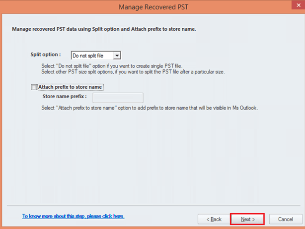 split the pst file to convert from ost to pst