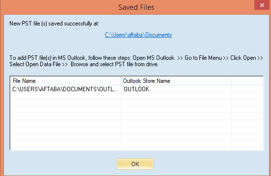 final step in converting from ost to pst