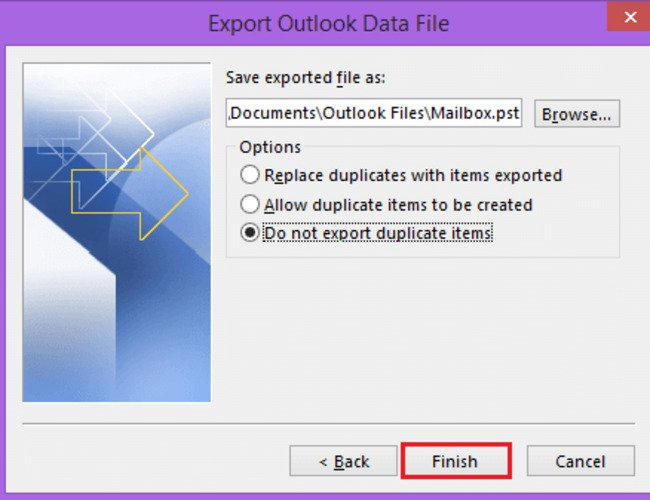 select the position and the duplicacy options