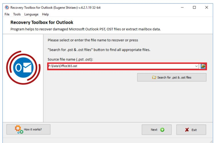 select the changed pst file